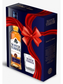 Scotch Terrier whisky blended with a glass gift wrapping