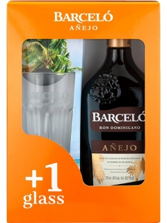 Rum Barcelo Anejo Dark Aged in a set with a glass