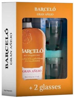 Rum Barcelo Gran Anejo Dark Aged in a set with glasses